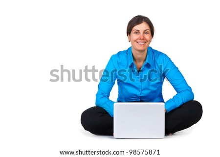 Happy woman with laptop computer isolated on white - stock photo