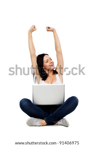 Happy Woman With Laptop Computer Isolated on White. Online Shopping - stock photo