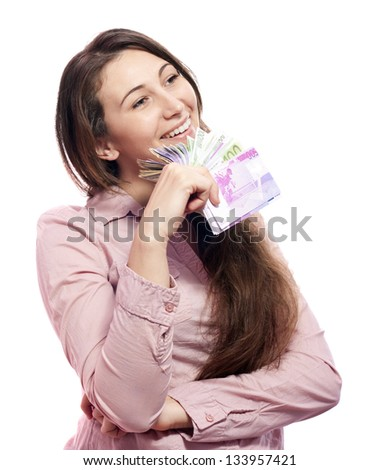 happy woman with money on a white background