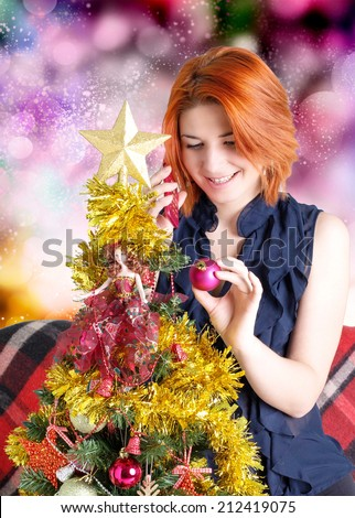 Happy Woman with phone in New Year Night - stock photo