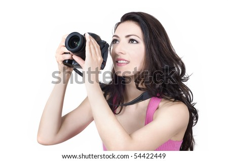 Happy woman with photo camera - stock photo
