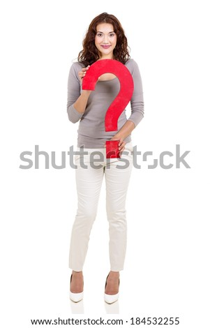 happy woman with question mark sign isolated on white - stock photo