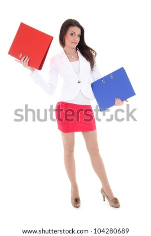 Happy woman with red and blue folders over white - stock photo