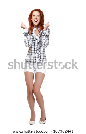 happy woman with red hair isolated on white - stock photo