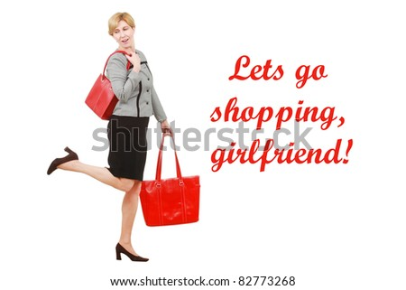Happy woman with shopping bags - stock photo