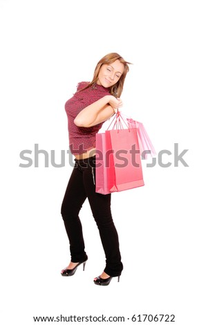 happy woman with shopping bags over white background