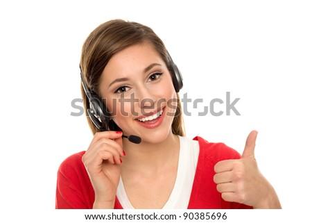 Happy woman with telephone headset - stock photo