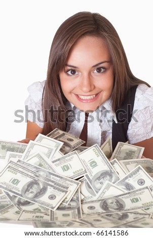 happy woman with the money on a white