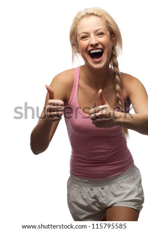 Happy woman with thumbs up - stock photo