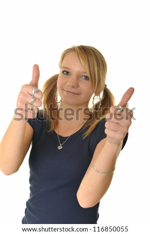 Happy woman with thumbs up - isolated over a white background - stock photo