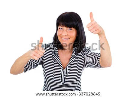 Happy woman with white teeth smile 40 years old in tshirt with stripes, showing thumbs-up, isolated on white background, positive human emotion, facial expression