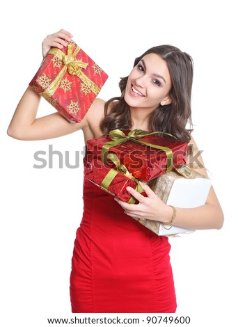 Happy women with christmas gift - stock photo