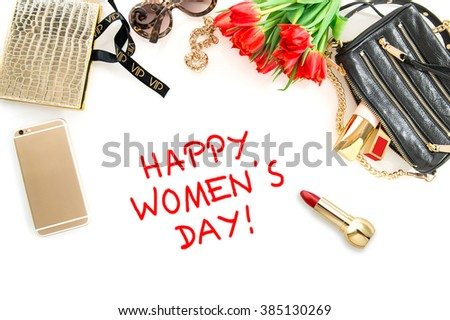Happy Womens Day! Fashion mock up with accessories, flowers, cosmetics, bag and jewelry.  - stock photo
