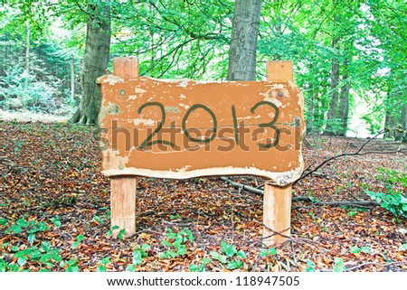 Happy 2013; Wooden sign with 2013 written on it - stock photo