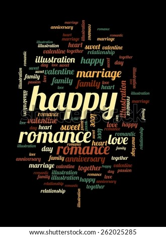 Happy word and tag cloud on black background. - stock photo