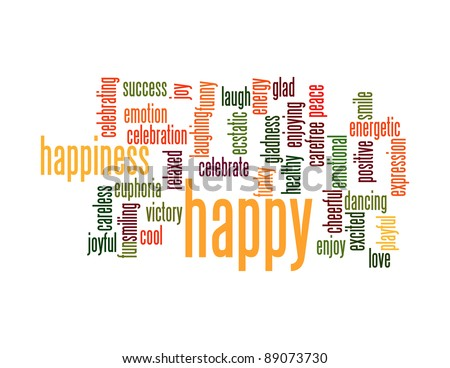 Happy words info-text graphics and arrangement concept on black background (word clouds) - stock photo