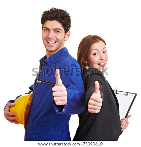 Happy worker and business woman holding their thumbs up - stock photo