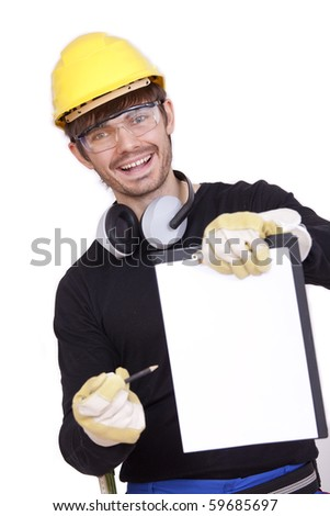 happy worker holding clipboard for signature - stock photo