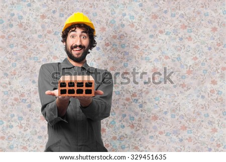 happy worker man with brick