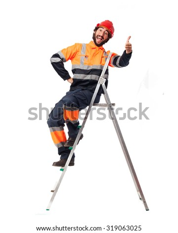 happy worker man with stair