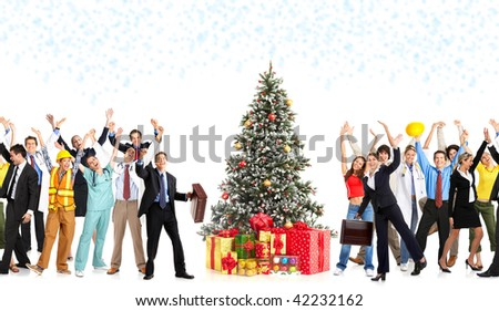 Happy workers people and Christmas tree. Over white background - stock photo