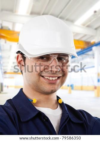 Happy working engineer portrait. - stock photo