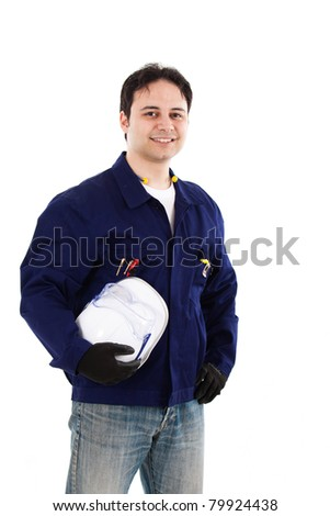 Happy working engineer portrait. Isolated on white - stock photo