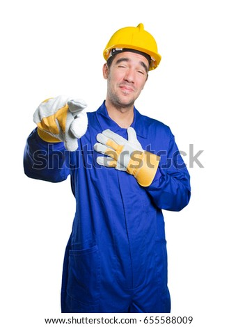 Happy workman laughing at you on white background