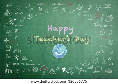 Happy world teacher's day concept with smiley face icon on green chalkboard and doodle freehand sketch chalk drawing: Students sending greeting message to school teachers/ academia on special occasion - stock photo