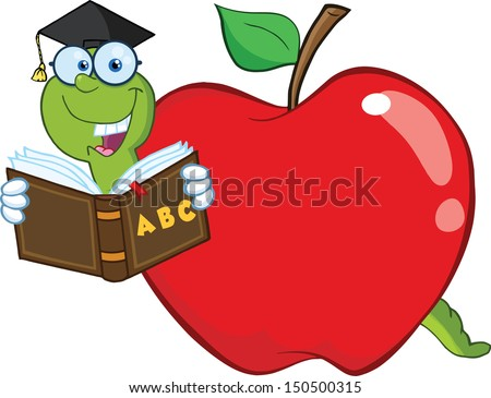 Happy Worm In Red Apple Reading A School Book.  - stock photo