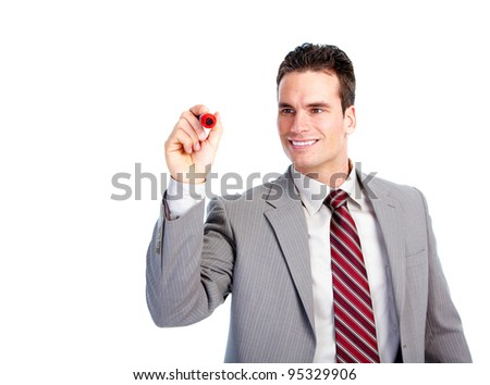 Happy writing businessman. Isolated over white background.