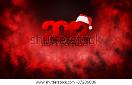 Happy year 2012 doomsday, red abstract background