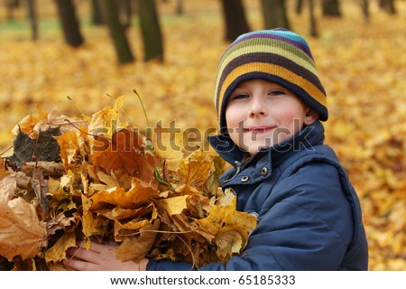 Happy 6 years old child and autumn leaves in a park. Kid has fun playing in fall leaves. - stock photo