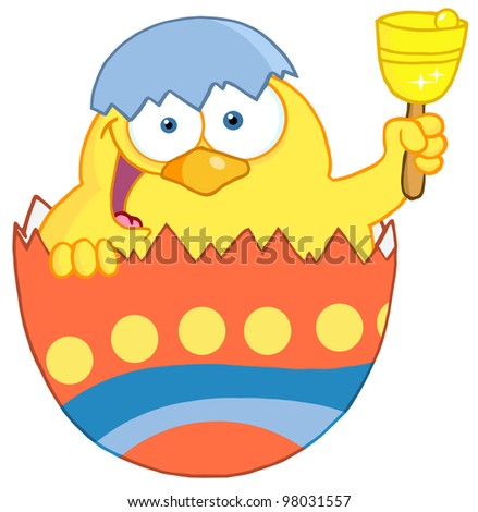 Happy Yellow Chick Peeking Out Of An Easter Egg And Ringing A Bell. Raster Illustration.Vector version also available in portfolio.