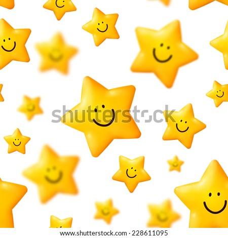 Happy yellow stars seamless pattern on white background - stock photo
