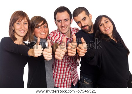 Happy Young Adult People with Thumbs Up - stock photo