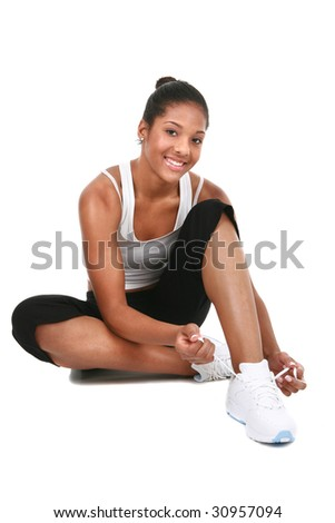 Happy Young African American Female Get Ready to Exercise Isolated - stock photo