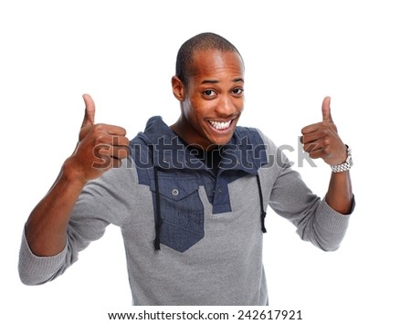 Happy young African-American man isolated white background - stock photo