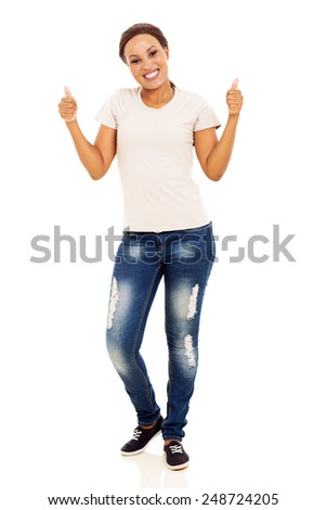 happy young african woman showing thumbs up on white background - stock photo