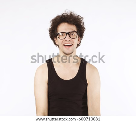 Happy young afro man in black glasses