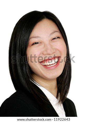 happy young asian girl as a businesswoman