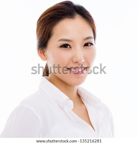 Happy young Asian woman close up shot isolated on white background. - stock photo
