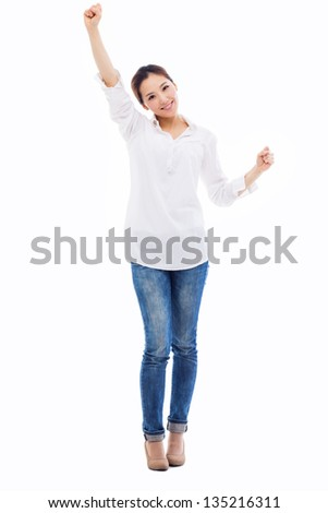Happy young asian woman hands up shot isolated on white background. - stock photo