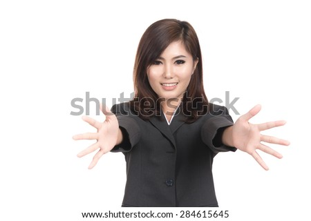 Happy young asian woman successful winning with blank copyspace area for text,Closeup portrait of beautiful Asian woman,Thai girl,Positive human emotion facial expression,isolated on white background - stock photo