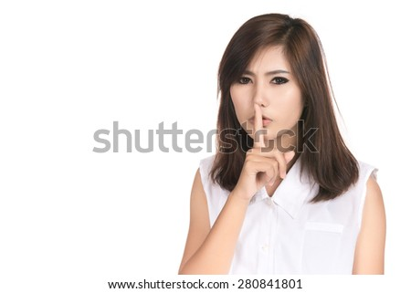Happy young asian woman with finger on lips with blank copyspace area for text,Closeup portrait of beautiful Asian woman,Thai girl,Positive human emotion facial expression,isolated on white background - stock photo