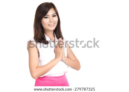 Happy young asian woman with Thai culture Sawasdee,Welcome expression Sawasdee  with blank copyspace area for text or slogan,Portrait of beautiful Asian woman,Thai girl,isolated on white background - stock photo