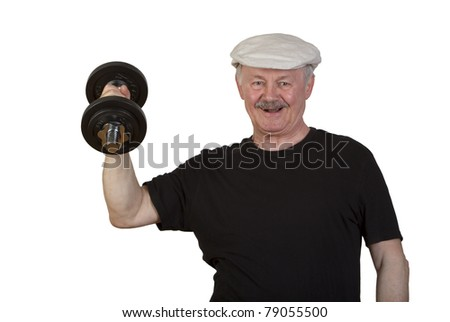 Happy young-at-heart senior man making fun lifting a heavy dumbbell, isolated on white. - stock photo