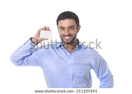 happy young attractive businessman holding blank business card for adding corporate text company name or logo using empty card as copy space isolated on white background - stock photo