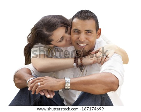 Happy Young Attractive Hispanic Couple Isolated on a White Background. - stock photo