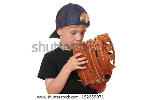 Happy young baseball boy on white background - stock photo